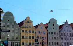 Kolorowi budynki w Augsburskim z rzędu, Niemcy obraz royalty free