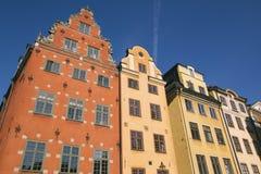 Kolorowi budynki w Gamla Stan, Sztokholm Fotografia Royalty Free