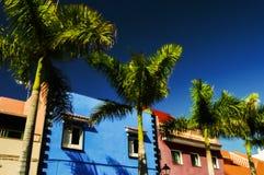 Kolorowi (Canarian) domy zdjęcie royalty free