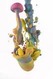Kolorowi ciecze miesza pod wodą Zdjęcia Royalty Free