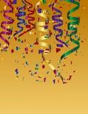Kolorowi confetti i kolorowy tasiemkowy tło Zdjęcie Royalty Free