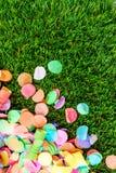 Kolorowi confetti i streamers na trawie jako szablon dla celebry Obraz Stock