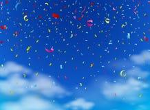 Kolorowi confetti na niebie Zdjęcie Royalty Free