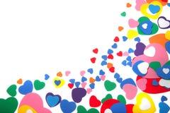 kolorowi confetti pienią się serca Obrazy Royalty Free