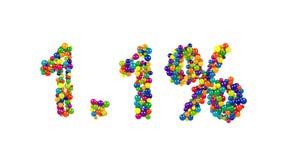 Kolorowi cukierków cukierki układali w kształcie 1 1% Fotografia Stock
