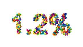 Kolorowi cukierki układający w kształcie 1 2% Zdjęcia Royalty Free