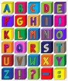 Kolorowi 3D abecadła bloki od listu A Z w A4 Ciąć na arkusze Fotografia Royalty Free