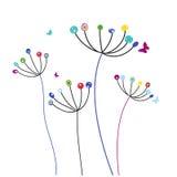 Kolorowi dandelion kwiaty, motyle wektorowi i Zdjęcie Stock