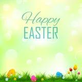 Kolorowi dekorujący Easter jajka w trawie Fotografia Stock