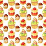 Kolorowi desery i ciasto wektoru bezszwowy wzór na białym tle Zdjęcia Stock