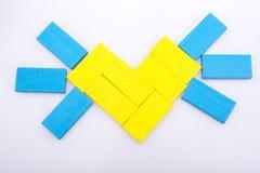 Kolorowi domin pices tworzy słońce kształt Zdjęcie Stock