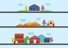 Kolorowi domy i Krajobrazowi Wektorowi projekty Zdjęcie Royalty Free