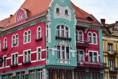 Kolorowi domy przy zjednoczenie kwadratem Zdjęcia Stock
