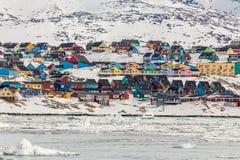 Kolorowi domy w Ilulissat Zdjęcie Royalty Free