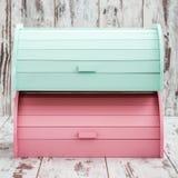 Kolorowi Drewniani chlebów pudełka dla Chlebowy Utrzymywać Obraz Royalty Free