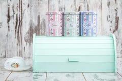 Kolorowi Drewniani chlebów pudełka dla Chlebowy Utrzymywać Fotografia Royalty Free