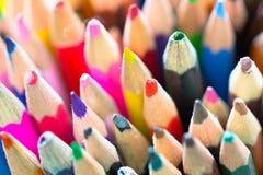 Kolorowi drewniani ołówki gdy dziecko hobby narzędzie Zdjęcia Stock