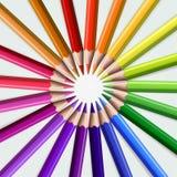 Kolorowi drewniani ołówki odizolowywający na białym tle Fotografia Royalty Free