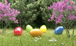 Kolorowi Easter jajka przed lasu 3D ilustracją ilustracja wektor