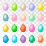 Kolorowi Easter jajka ustawiają odosobnionego na przejrzystym tle ilustracja wektor