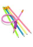 kolorowi elastyczni śmieszni ołówki Zdjęcia Royalty Free