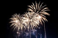 Kolorowi fajerwerki nad nocnym niebem Obraz Royalty Free