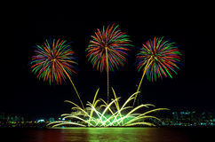 Kolorowi fajerwerki w Seul, Południowy Korea Obraz Royalty Free