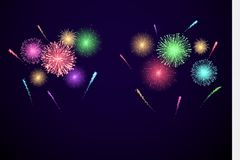 Kolorowi festiwali/lów fajerwerki sztandar dla Diwali, ather wydarzenie i wakacje i Wektorowa ilustracja odizolowywająca na przej ilustracja wektor