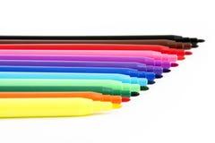 Kolorowi filc pióra, Odosobneni na bielu Obrazy Stock