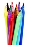 Kolorowi filc pióra, Odosobneni na bielu Zdjęcia Stock
