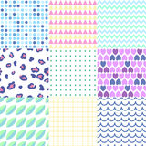 Kolorowi geometryczni bezszwowi wzory ustawiający Fotografia Royalty Free