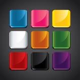 Kolorowi glansowani tła dla app ikon Zdjęcia Royalty Free