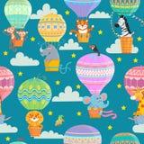 Kolorowi gorące powietrze balony, zwierzęta i ilustracji