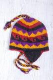 Kolorowi handmade trykotowi kapelusze na Nepalskim rynku obrazy royalty free