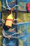 Kolorowi homarów oklepowie z nylonowymi arkanami i boja Obraz Stock