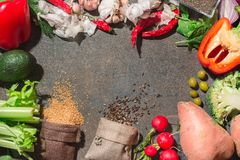 Kolorowi i świezi warzywa układali w okręgu Rozprasza ziarna od toreb fotografia royalty free