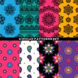 Kolorowi indyjscy wschodni azjata wzory ustawiający royalty ilustracja
