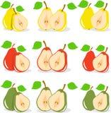 Kolorowi jabłko plasterki, kolekcja ilustracja Fotografia Stock