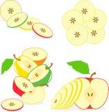 Kolorowi jabłko plasterki, kolekcja ilustracje Zdjęcie Stock