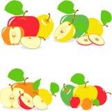 Kolorowi jabłko plasterki, kolekcja ilustracje Zdjęcie Royalty Free
