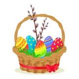 Kolorowi jajka, Brench wierzba w Łozinowym koszu ilustracja wektor