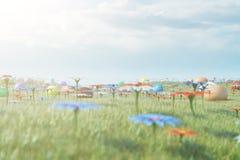Kolorowi jajka w łące na słonecznym dniu przeciw niebieskiemu niebu Stubarwni malujący Easter jajka na trawie, gazon Pojęcie ilustracji