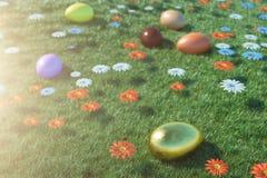 Kolorowi jajka w łące na słonecznym dniu z pięknymi kwiatami, Stubarwni malujący Easter jajka na trawie, gazon royalty ilustracja