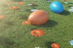 Kolorowi jajka w łące na słonecznym dniu z pięknymi kwiatami, Stubarwni malujący Easter jajka na trawie, gazon ilustracji