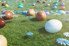 Kolorowi jajka w ??ce na s?onecznym dniu z pi?knymi kwiatami, Stubarwni maluj?cy Easter jajka na trawie, gazon ilustracji
