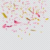 Kolorowi jaskrawi confetti na przejrzystym tle świąteczna ilustracja Zdjęcie Stock