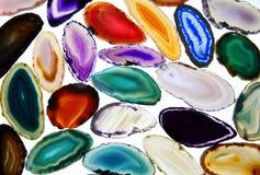 Kolorowi kamienie, agatów plasterki Zdjęcie Stock