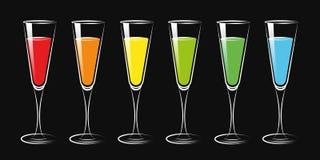 Kolorowi koktajlu napoju szkła ustawiający ilustracja wektor