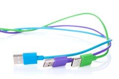 Kolorowi komputerów kable Zdjęcia Royalty Free