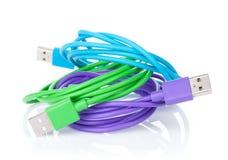 Kolorowi komputerów kable Zdjęcia Stock